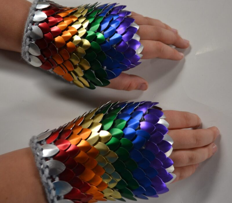 Rainbow knitted scalemaille gauntlets
