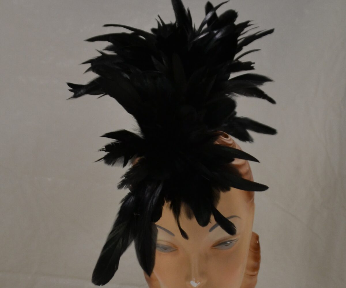 A hat made of a large cluster of black feathers sticking up.