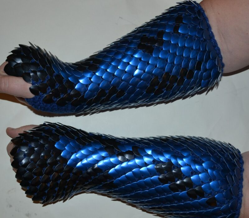 Long blue and black scalemaille gauntlets