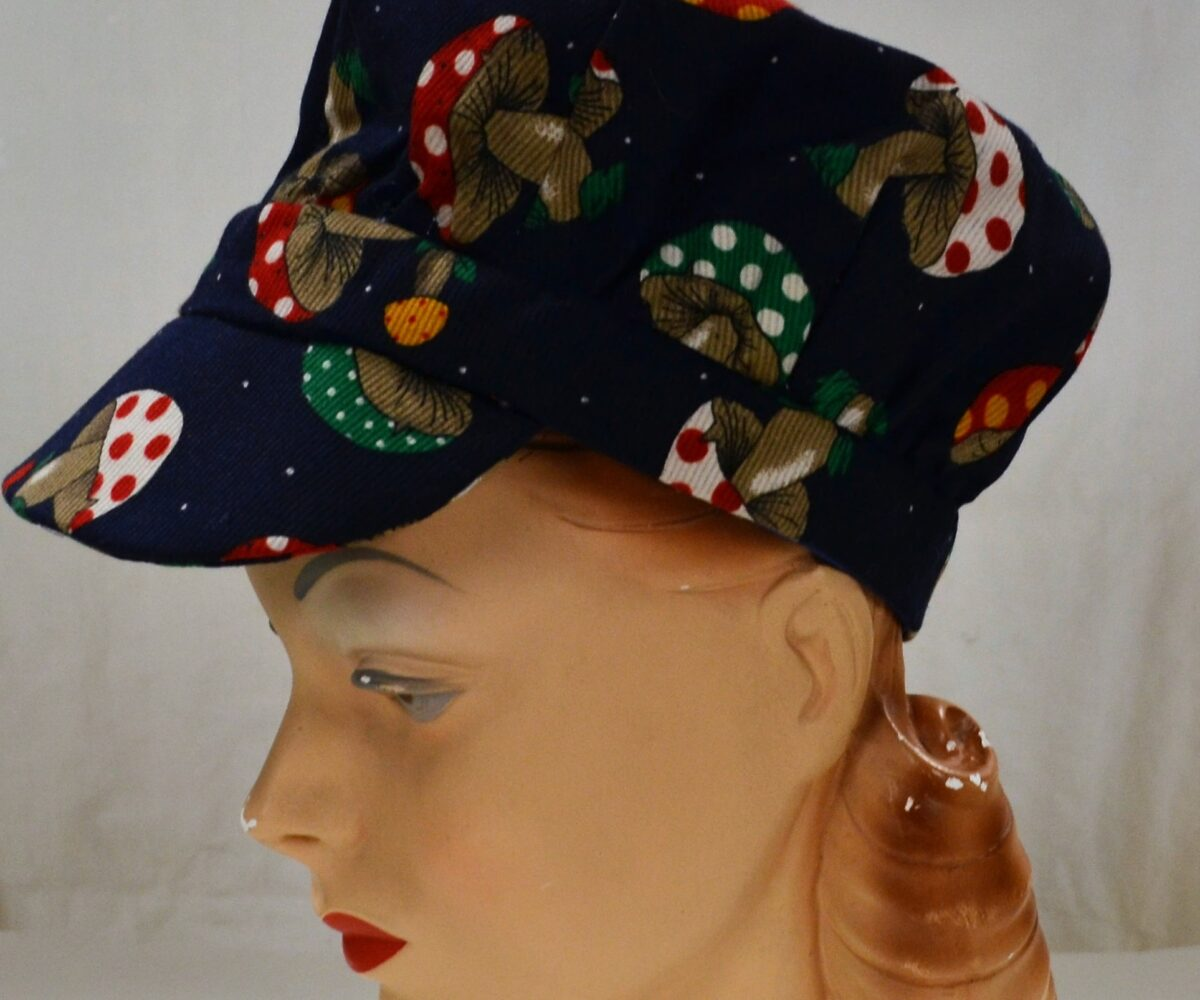 A casual hat with a mushroom pattern